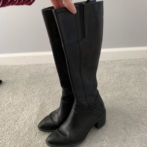 Franco Sarto Tall Black Leather Boots Size 6